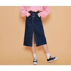 HOTPING - Slit-Front Denim Midi Skirt