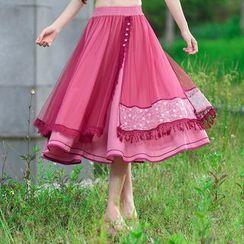 Ebbie - Layered Midi A-Line Skirt