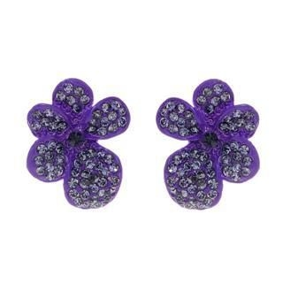 Amadore - Purple Flower Earrings with Swarovski Crystal