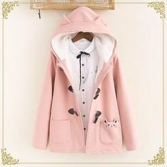 布衣天使 - 貓咪刺繡粗呢大衣