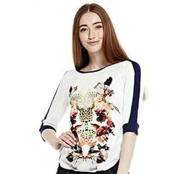 O.SA - 3/4-Sleeve Contrast-Trim Printed Top