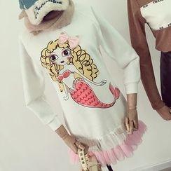 OYANA - Print Mesh Panel Sweatshirt