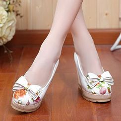 Sidewalk - Bow Platform Wedge Pumps