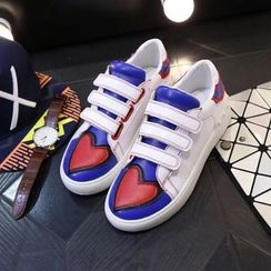 Laceuplux - Heart Colour Block Velcro Sneakers
