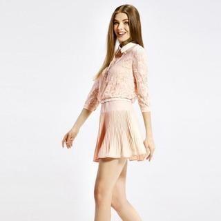 O.SA - Collared Lace-Panel Pleated Dress
