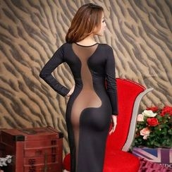 Colorful Days - Long-Sleeve See Through Bodycon Dress