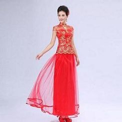 Luxury Style - Set: Cap-Sleeve Embroidered Cheongsam Top + Layered Maxi Skirt