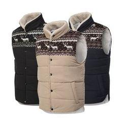 Seoul Homme - Fleece-Lined Patterned Padded Vest