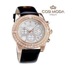 COSI MODA - Stainless Steel Genuine Leather Strap Watch with Cubic Zirconia