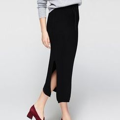 cachecache - Drawstring Slit-Side Plain Skirt
