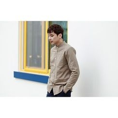 SCOU - Mandarin-Collar Pocket-Front Shirt