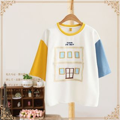 Vateddy - 刺繡插色中袖T恤