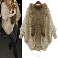 HOTCAKE - Furry Trim Cable Knit Cardigan