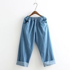 Vateddy - Seam Front Washed Jeans