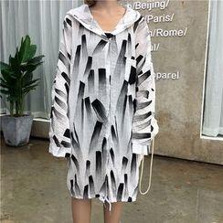 CHIH - Printed Hooded Long Light Jacket