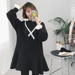 Eva Fashion - 皱褶边内加绒卫衣