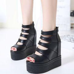 Anran - Hidden Wedge Platform Sandals