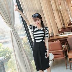 Keylook - Set : Stripe Short-Sleeve T-shirt + Suspender Skirt