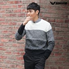 DANGOON - Crew-Neck Gradient Color-Block Sweater