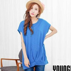 YoungBaby - Short-Sleeve Shirred Loose-Fit Top