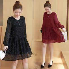VIZZI - Polka Dot A-Line Chiffon Dress