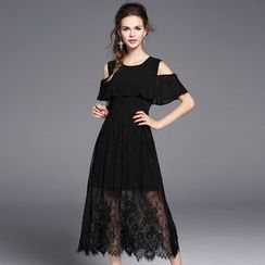 Merald - Lace Panel Short-Sleeve A-Line Dress