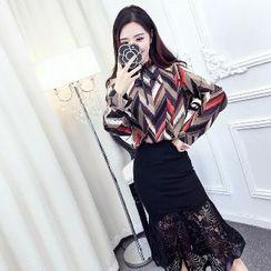 Romantica - Set: Patterned Blouse + Lace Ruffle Skirt