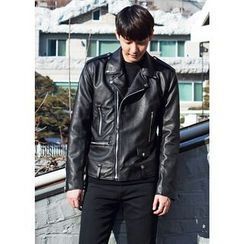 GERIO - Faux-Leather Rider Jacket