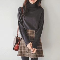 JUSTONE - Turtle-Neck Wool Blend Knit Top