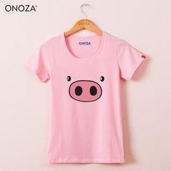 Onoza - 短袖小豬印花 T 恤