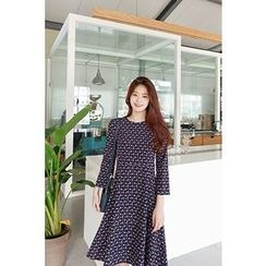 CHERRYKOKO - Round-Neck Floral A-Line Dress