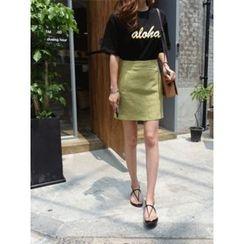 hellopeco - Linen Blend Mini A-Line Skirt