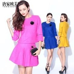 Tang House - Set: Elbow-Sleeve Top + A-Line Skirt + Brooch