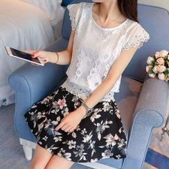Ekim - Set: Lace Cap-Sleeve Top + Floral Print A-Line Skirt