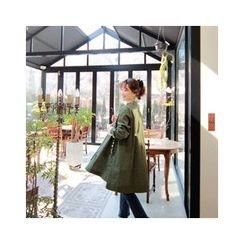 LEELIN - Raglan-Sleeve Floral Embellished Coat