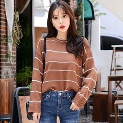 DEEPNY - Long-Sleeve Striped Knit Top