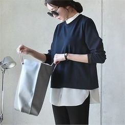 mayblue - Inset Shirt Mandarin-Collar Top