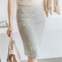 JOAMOM - 束腰蕾絲覆層鉛筆裙