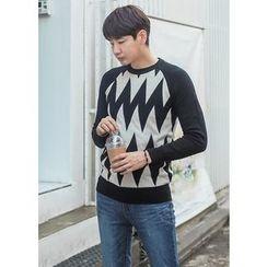 GERIO - Raglan-Sleeve Patterned Sweater