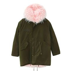 chuu - Hooded Faux-Fur Lined Parka