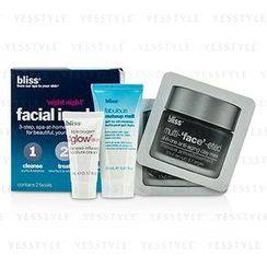 Bliss - Night Night Facial In A Box: Makeup melt gel-to-oil Cleanser 20ml + Clay Mask 2x4g + Triple Oxygen Moisture Cream 5ml