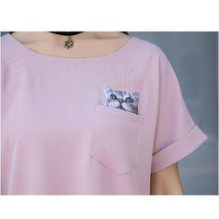 HazyDazy - 貓印花口袋短袖T恤