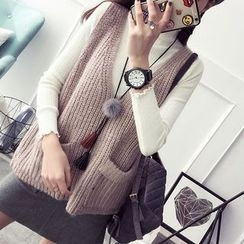 Qimi - Pocketed Chunky Knit Vest