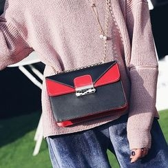 Youshine - Color Block Boxy Shoulder Bag