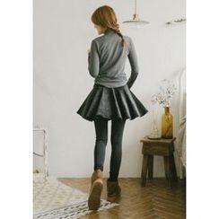 GOROKE - Inset Velvet Mini Ruffle Skirt Leggings