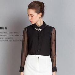 SEYLOS - Sheer Long-Sleeve Blouse