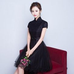 Fantasy Bride - Cap Sleeve Stand-collar Dip Back Prom Dress