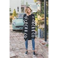 migunstyle - Open-Front Pattern Long Cardigan