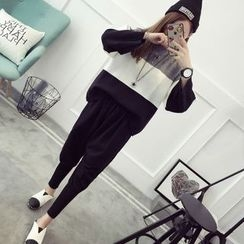 Qimi - Set: Color Block Sweater + Knit Harem Pants
