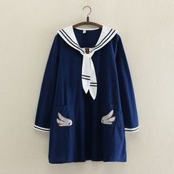Angel Love - Embroidered Sailor Collar Long-Sleeve Dress